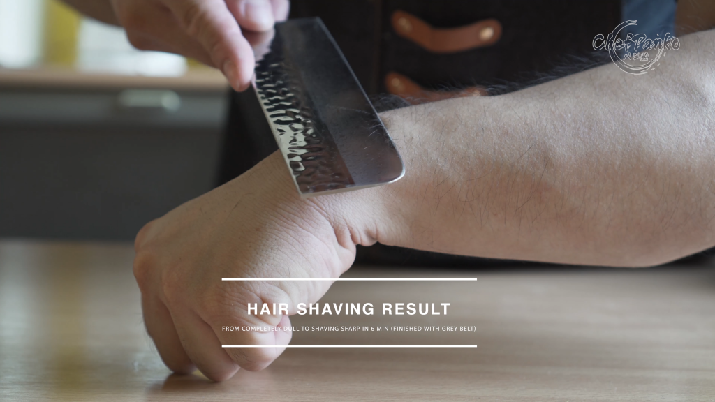 Hair shaving results from completely dull/microchips to hair shaving sharp in 6 min!